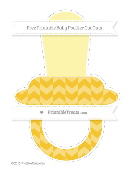 Free Saffron Yellow Herringbone Pattern Extra Large Baby Pacifier Cut Outs