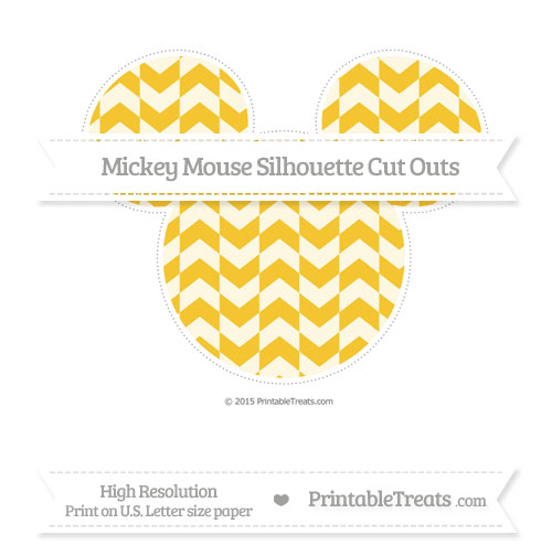 Free Saffron Yellow Herringbone Pattern Extra Large Mickey Mouse Silhouette Cut Outs