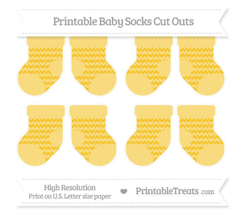 Free Saffron Yellow Herringbone Pattern Small Baby Socks Cut Outs