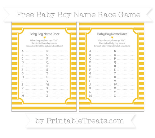 Free Saffron Yellow Horizontal Striped Baby Boy Name Race Game