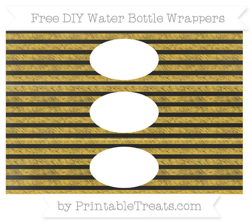 Free Saffron Yellow Horizontal Striped Chalk Style DIY Water Bottle Wrappers