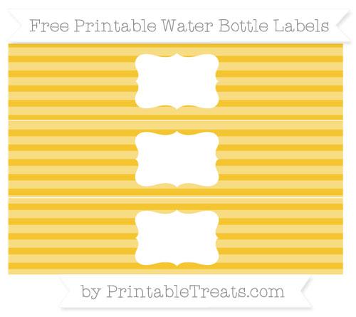 Free Saffron Yellow Horizontal Striped Water Bottle Labels