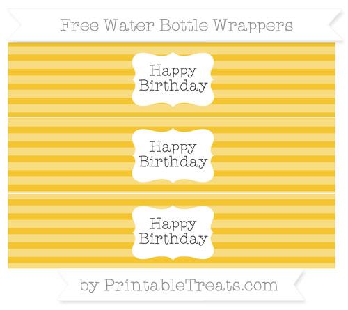 Free Saffron Yellow Horizontal Striped Happy Birhtday Water Bottle Wrappers