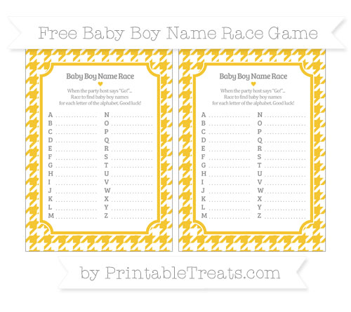 Free Saffron Yellow Houndstooth Pattern Baby Boy Name Race Game