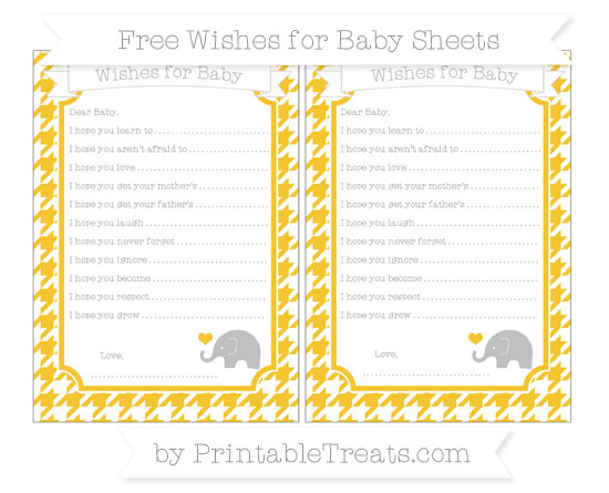 Free Saffron Yellow Houndstooth Pattern Baby Elephant Wishes for Baby Sheets