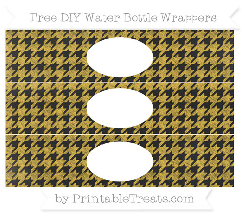 Free Saffron Yellow Houndstooth Pattern Chalk Style DIY Water Bottle Wrappers