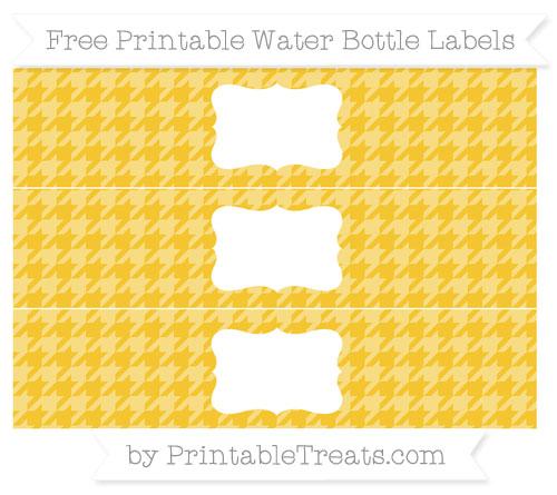 Free Saffron Yellow Houndstooth Pattern Water Bottle Labels