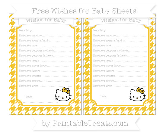 Free Saffron Yellow Houndstooth Pattern Hello Kitty Wishes for Baby Sheets