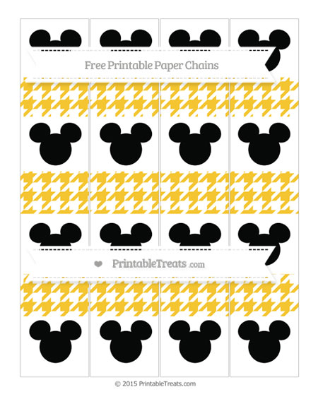 Free Saffron Yellow Houndstooth Pattern Mickey Mouse Paper Chains