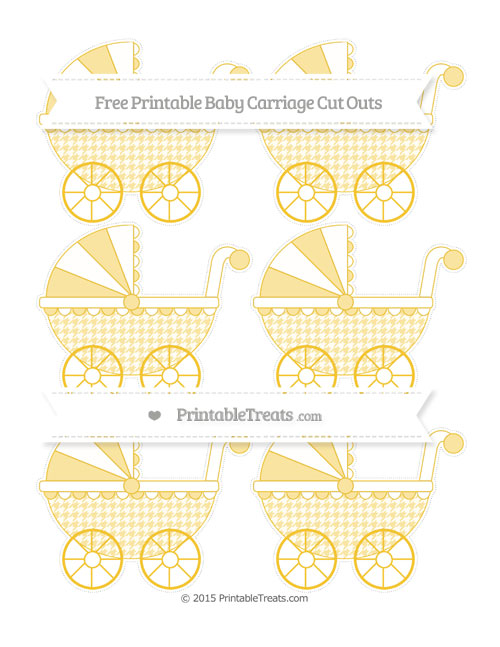 Free Saffron Yellow Houndstooth Pattern Small Baby Carriage Cut Outs