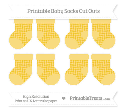 Free Saffron Yellow Houndstooth Pattern Small Baby Socks Cut Outs
