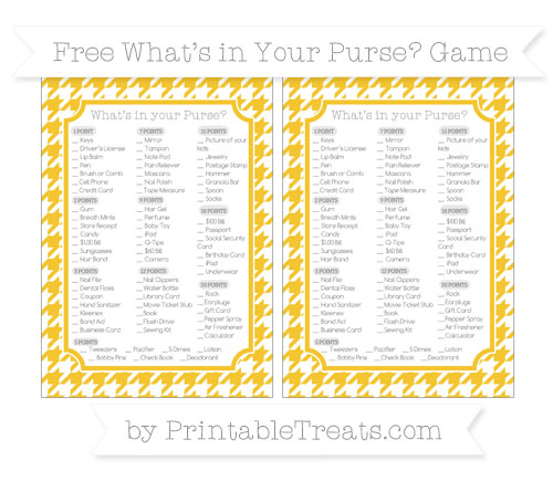 Free Saffron Yellow Houndstooth Pattern What's in Your Purse Baby Shower Game