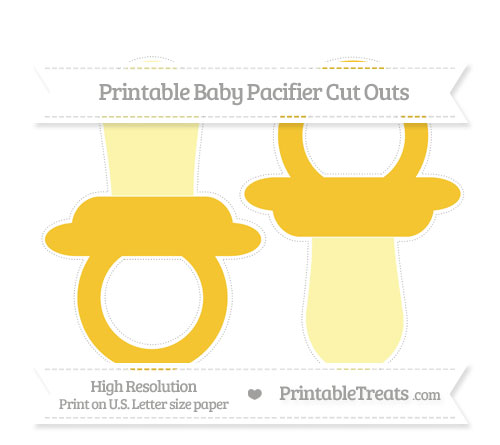 Free Saffron Yellow Large Baby Pacifier Cut Outs