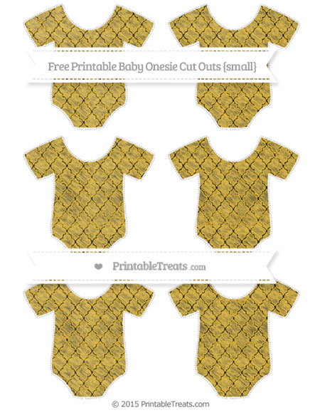 Free Saffron Yellow Moroccan Tile Chalk Style Small Baby Onesie Cut Outs