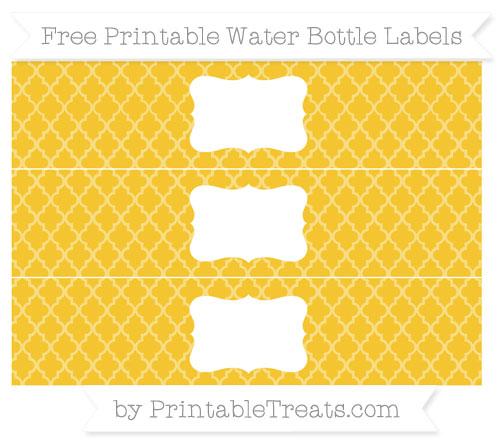 Free Saffron Yellow Moroccan Tile Water Bottle Labels