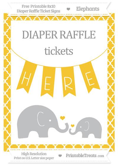Free Saffron Yellow Moroccan Tile Elephant 8x10 Diaper Raffle Ticket Sign