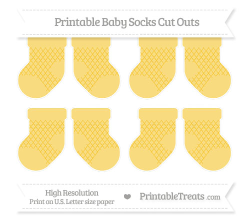 Free Saffron Yellow Moroccan Tile Small Baby Socks Cut Outs