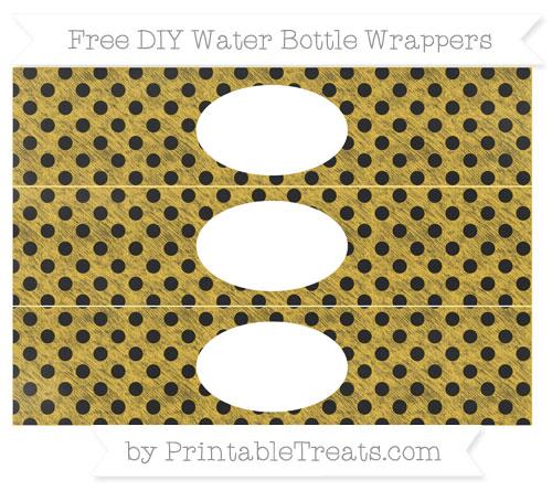 Free Saffron Yellow Polka Dot Chalk Style DIY Water Bottle Wrappers