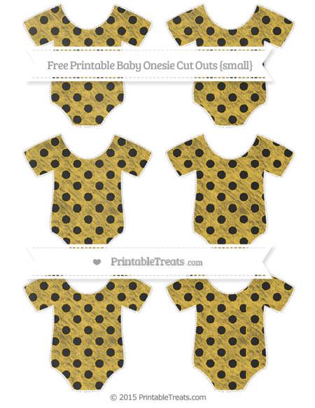 Free Saffron Yellow Polka Dot Chalk Style Small Baby Onesie Cut Outs