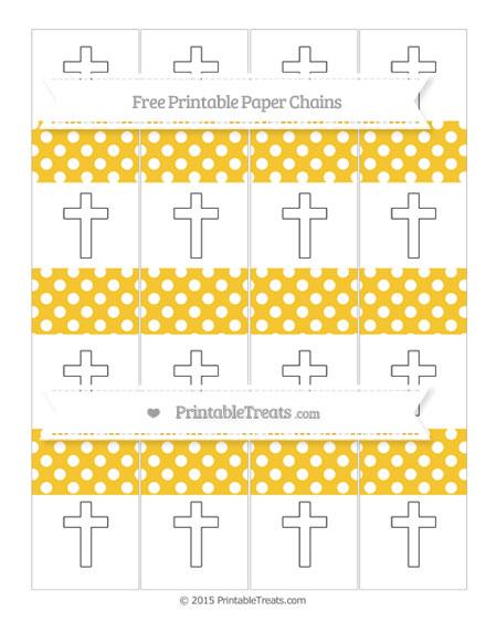 Free Saffron Yellow Polka Dot Cross Paper Chains
