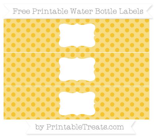 Free Saffron Yellow Polka Dot Water Bottle Labels