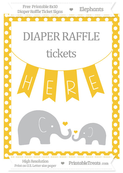 Free Saffron Yellow Polka Dot Elephant 8x10 Diaper Raffle Ticket Sign