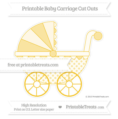 Free Saffron Yellow Polka Dot Extra Large Baby Carriage Cut Outs