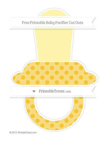 Free Saffron Yellow Polka Dot Extra Large Baby Pacifier Cut Outs