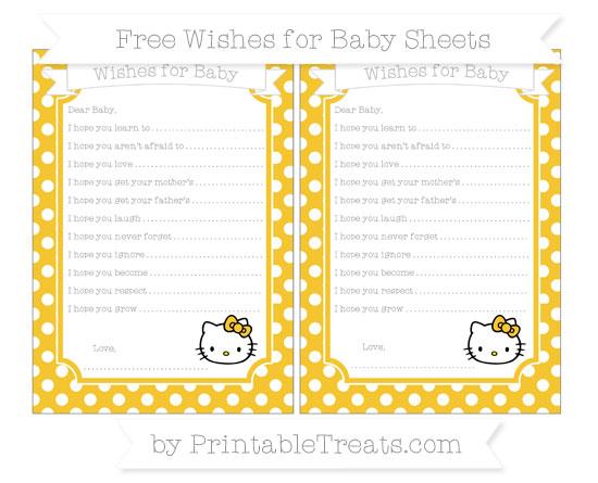 Free Saffron Yellow Polka Dot Hello Kitty Wishes for Baby Sheets