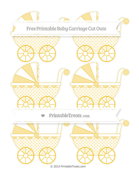 Free Saffron Yellow Polka Dot Small Baby Carriage Cut Outs