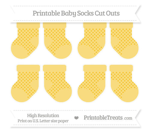 Free Saffron Yellow Polka Dot Small Baby Socks Cut Outs