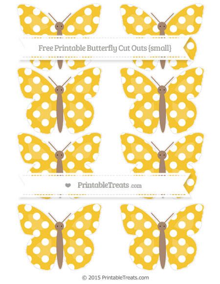Free Saffron Yellow Polka Dot Small Butterfly Cut Outs