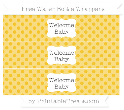 Free Saffron Yellow Polka Dot Welcome Baby Water Bottle Wrappers