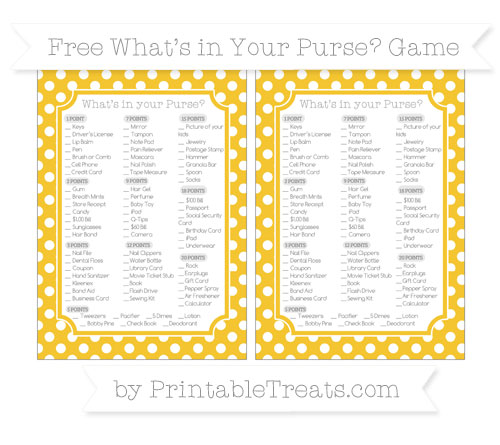 Free Saffron Yellow Polka Dot What's in Your Purse Baby Shower Game