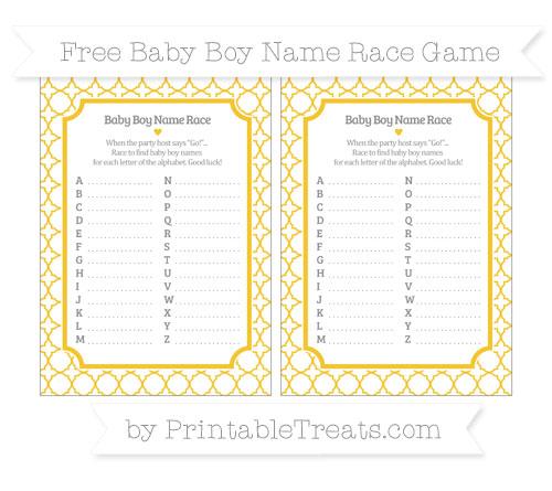 Free Saffron Yellow Quatrefoil Pattern Baby Boy Name Race Game