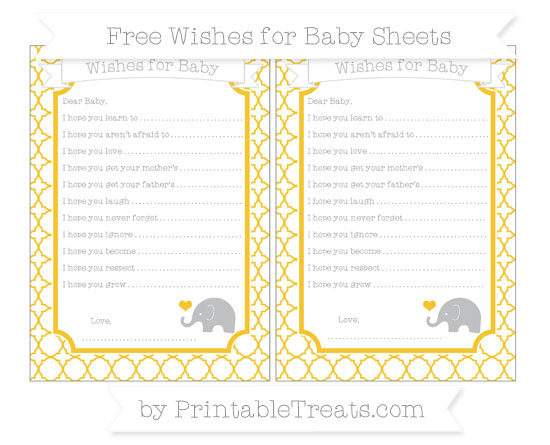 Free Saffron Yellow Quatrefoil Pattern Baby Elephant Wishes for Baby Sheets