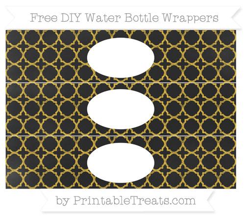 Free Saffron Yellow Quatrefoil Pattern Chalk Style DIY Water Bottle Wrappers