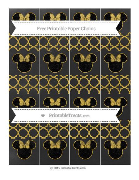 Free Saffron Yellow Quatrefoil Pattern Chalk Style Minnie Mouse Paper Chains