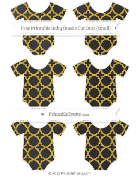 Free Saffron Yellow Quatrefoil Pattern Chalk Style Small Baby Onesie Cut Outs