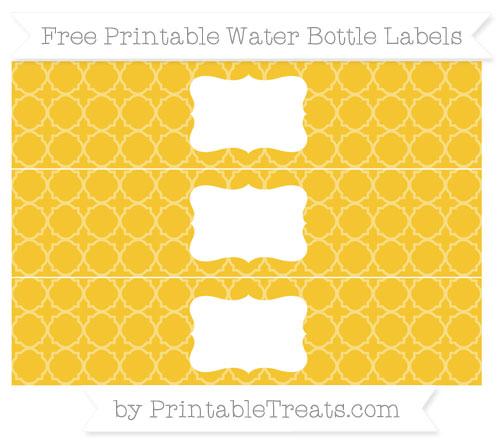 Free Saffron Yellow Quatrefoil Pattern Water Bottle Labels