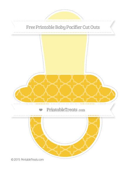 Free Saffron Yellow Quatrefoil Pattern Extra Large Baby Pacifier Cut Outs