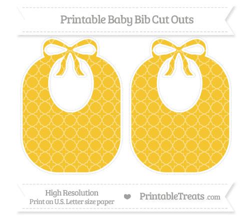 Free Saffron Yellow Quatrefoil Pattern Large Baby Bib Cut Outs
