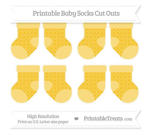 Free Saffron Yellow Quatrefoil Pattern Small Baby Socks Cut Outs