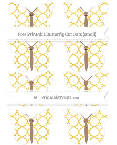 Free Saffron Yellow Quatrefoil Pattern Small Smiley Butterfly Cut Outs
