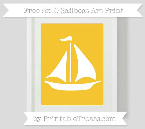 Free Saffron Yellow Sailboat 8x10 Art Print