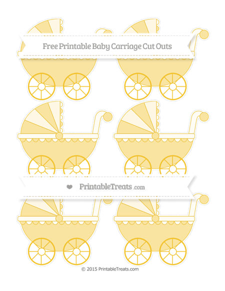 Free Saffron Yellow Small Baby Carriage Cut Outs