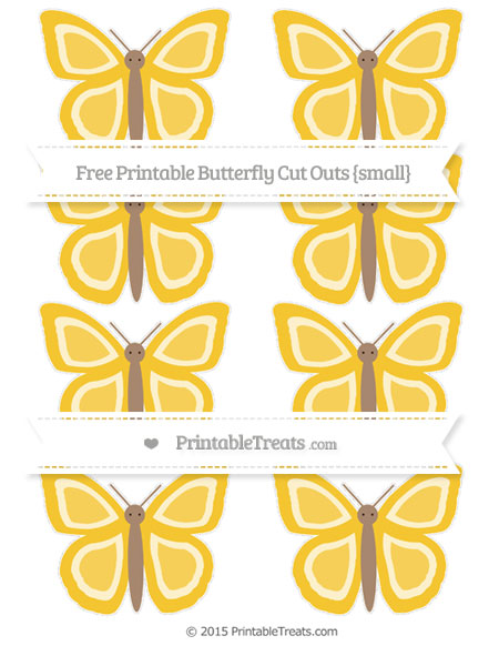 Free Saffron Yellow Small Butterfly Cut Outs
