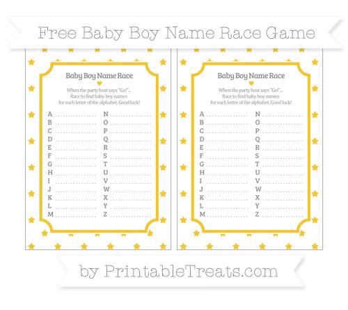 Free Saffron Yellow Star Pattern Baby Boy Name Race Game