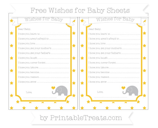 Free Saffron Yellow Star Pattern Baby Elephant Wishes for Baby Sheets