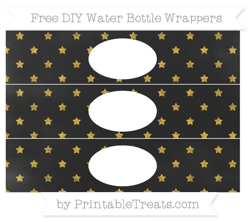 Free Saffron Yellow Star Pattern Chalk Style DIY Water Bottle Wrappers